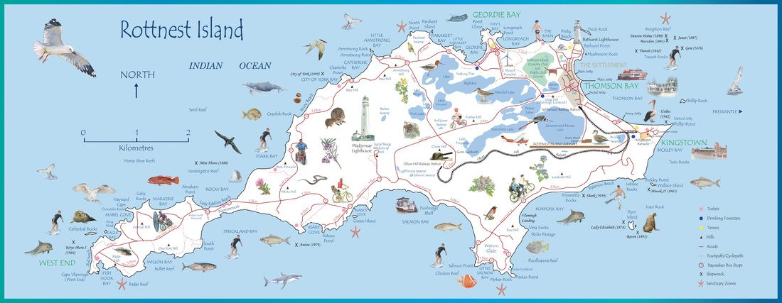 Rottnest Island Map 600mm x 233mm glossy paper An attractive map of