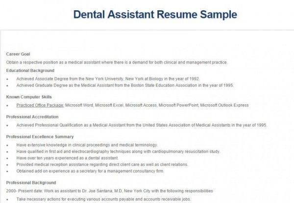 Dental Assistant Resume  Dental Assisting    Dental