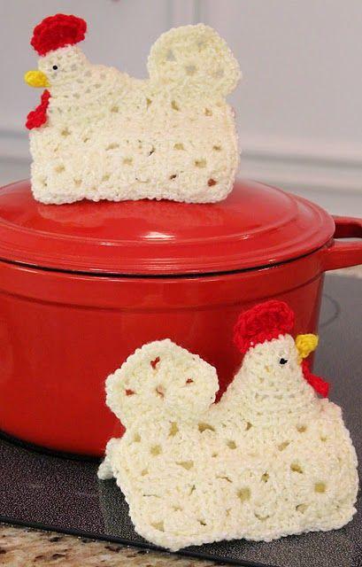 Little chicken potholders I've crocheted. I love these!