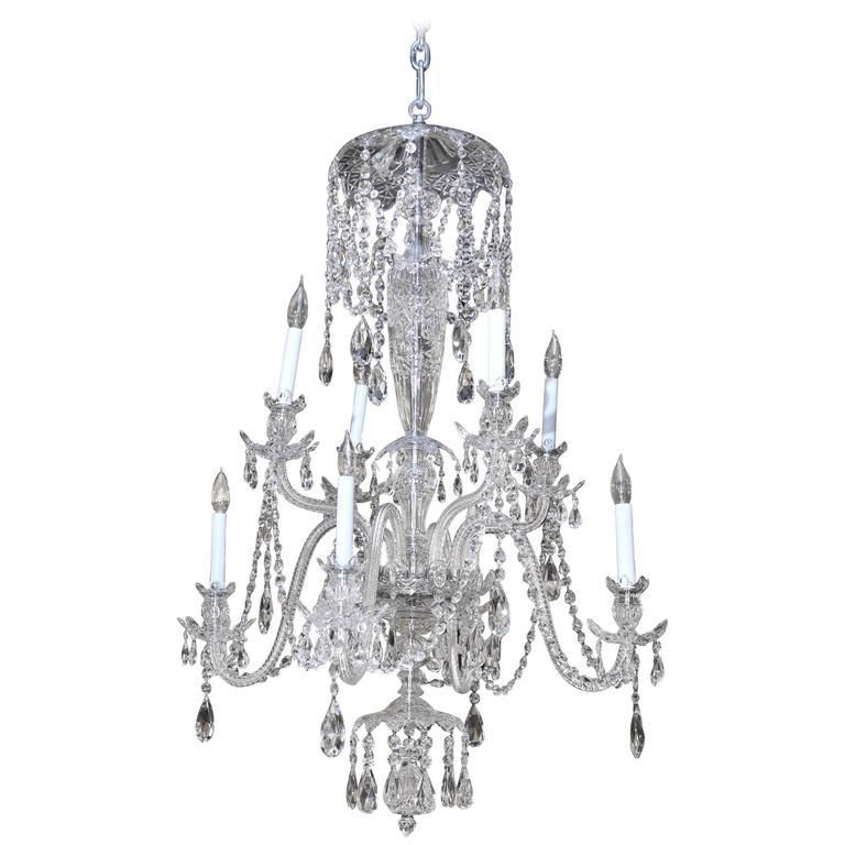 8 light baccarat chandelier with 4 tiers of crystals and etched 8 light baccarat chandelier with 4 tiers of crystals and etched glass body available for sale mozeypictures Image collections