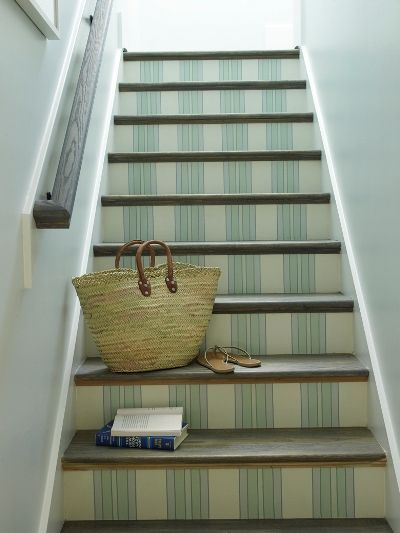 I think it would look cool to wallpaper the stairs like this. Or a different color but this idea.