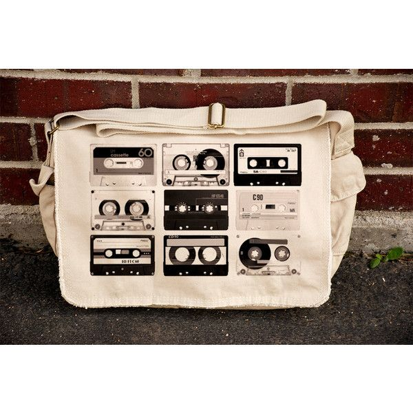 Old Cassette Tapes - Khaki Canvas Messenger Bag