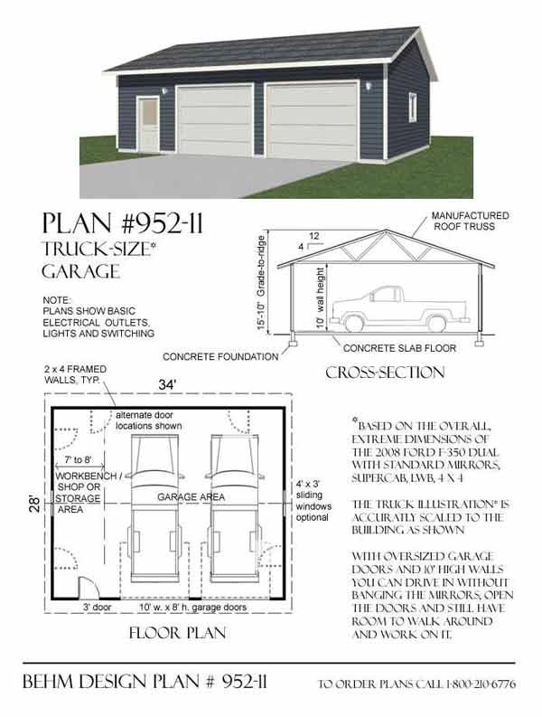 Oversized 2 Car Garage Plan With One Story 952 11 34 X 28 By Behm Designs Garage Plans Garage Shop Plans 2 Car Garage Plans