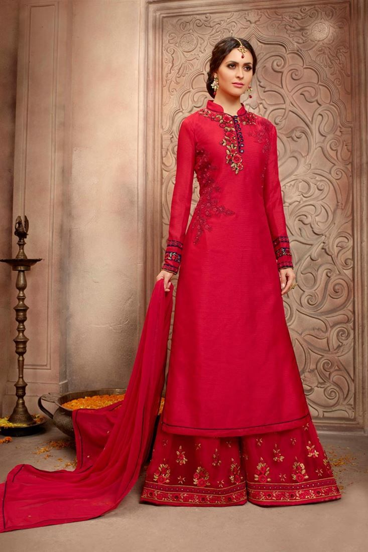973d4d2f88 Palazzo Indian Suits | Red Color Designer Pakistani Style Embroidered  Bhagalpuri Silk Palazzo .