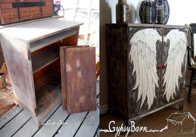 Gypsy Barn: The Angel Wing Cubby, burning, painting, texture, staining, glazing and more