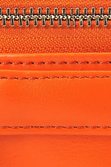 #Romwe Orange Zippered Faux Leather Bag