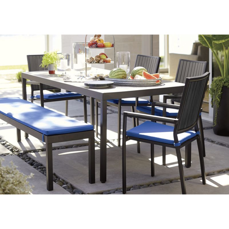 Decker Galvanized Tray Reviews Crate And Barrel Patio Dining Furniture Outdoor Dining Furniture Rectangular Dining Table