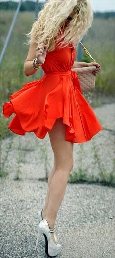 Cool mini red dress with white high