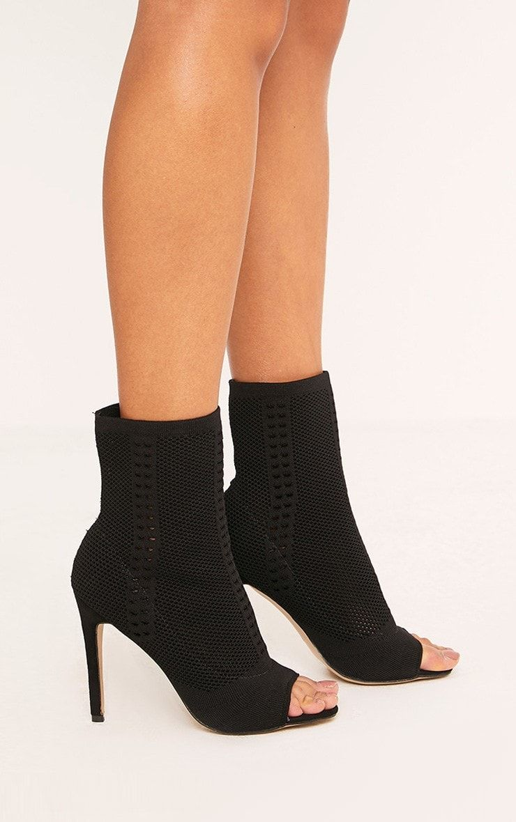 knitted peep toe boots