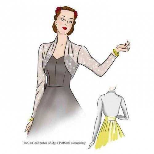 Schnittmuster: 4012 - 1940s Sleek Sleeve Bolero | Retro-Nähen, Jacke ...