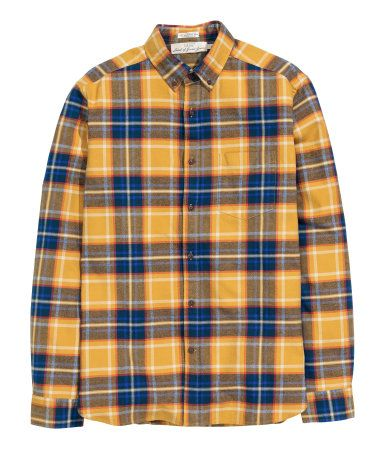 9012112a Mustard yelloe checked, long-sleeved shirt in brushed cotton flannel with a  button-down collar and chest pocket. Regular fit.   H&M For Men
