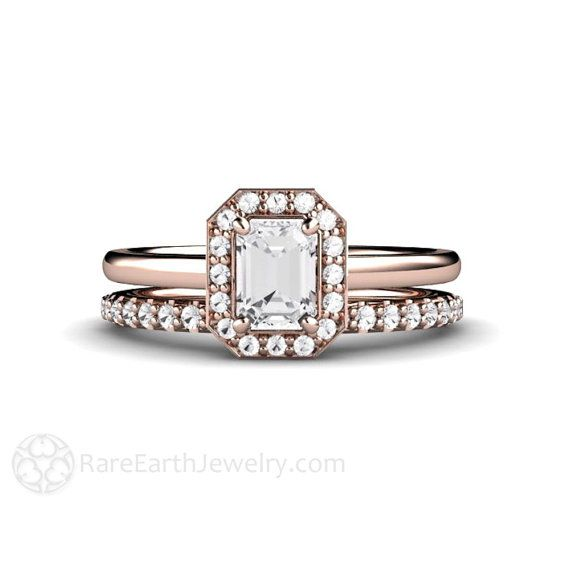 Emerald Diamond Engagement Ring Bridal Set Emerald Cut Diamond Halo