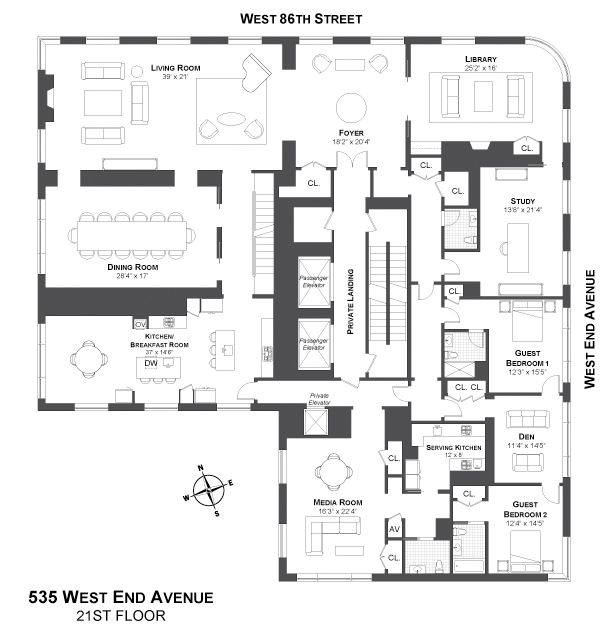 535 West End Avenue, New York Penthouse Architecture, floor plans - plan d interieur de maison