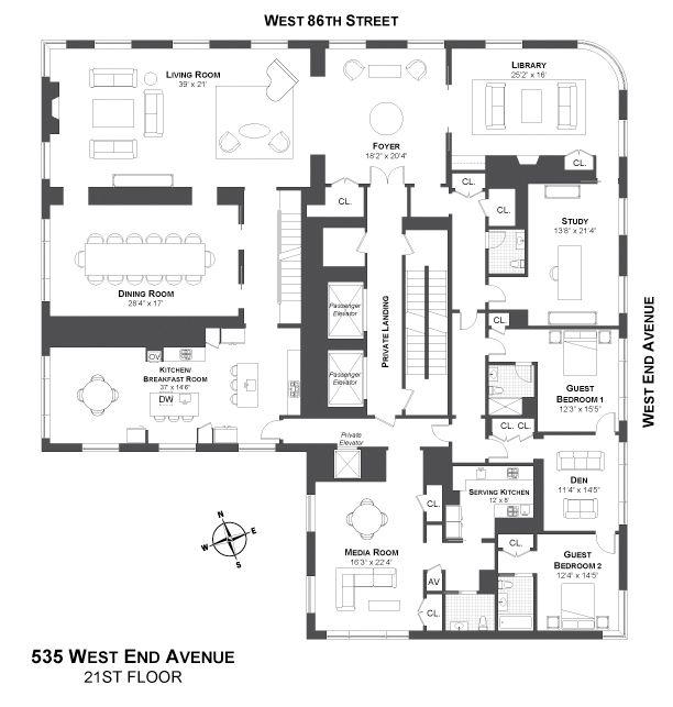 For Sale 535 West End Ave Ph In Upper West Side Apartment Floor Plans Floor Plans Penthouse Apartment Floor Plan
