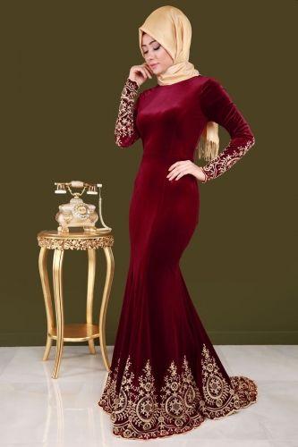 Kuyruklu Tesettur Kadife Abiye Bordo The Dress Elbise Modelleri Elbiseler