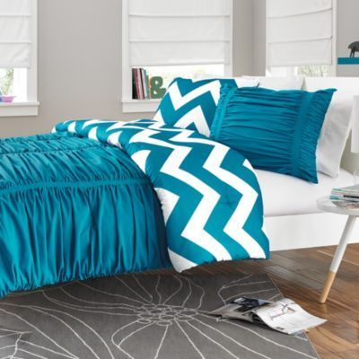 WISH LIST: Future bedding after looking for new mattress? Reagan Reversible Comforter Set in Peacock Blue – BedBathandBeyond.com