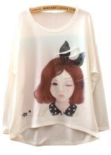 White Long Sleeve Bunny Girl Print Asymmetrical T-Shirt 0.00