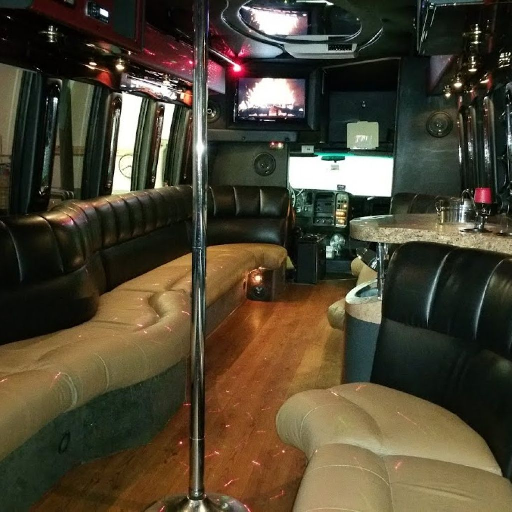 28 passenger party bus with a bathroom party bus rental
