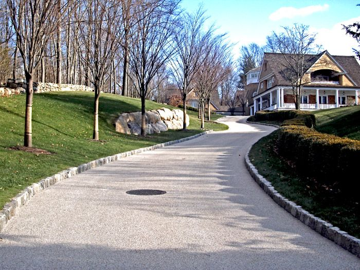 Crushed granite driveway with curbing | Dream house ideas