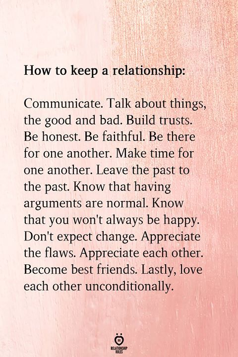 How to keep a relationship: