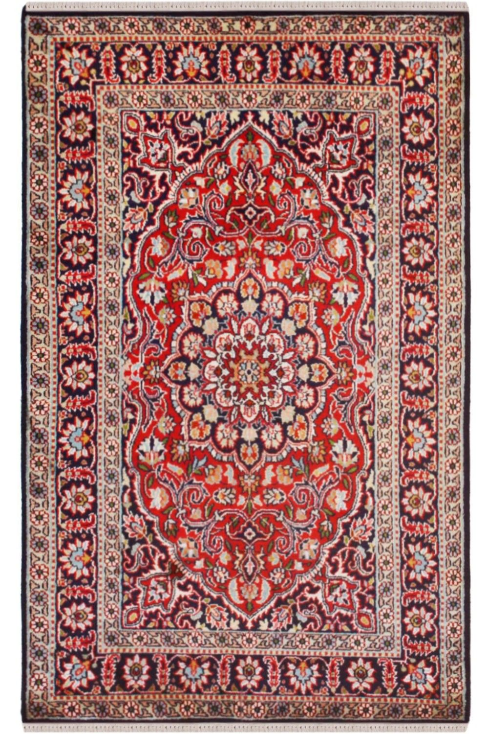 One Of A Kind Patte Kashan Design Rug 100 Handmade In Kashmir Silk On
