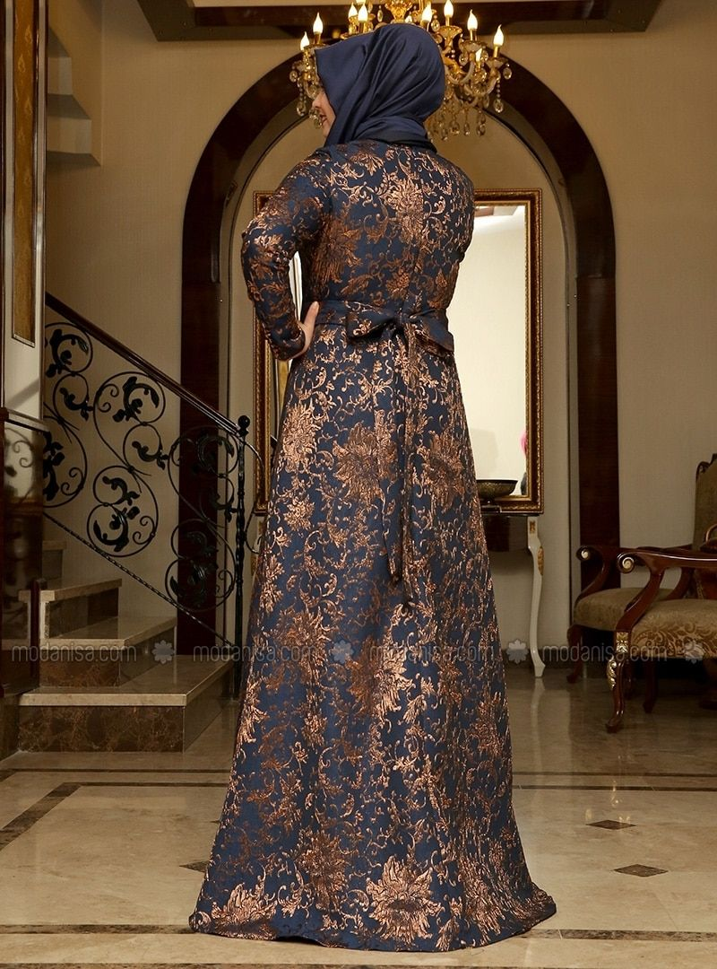 Brocade evening dress navy blue copper saliha duvaklar