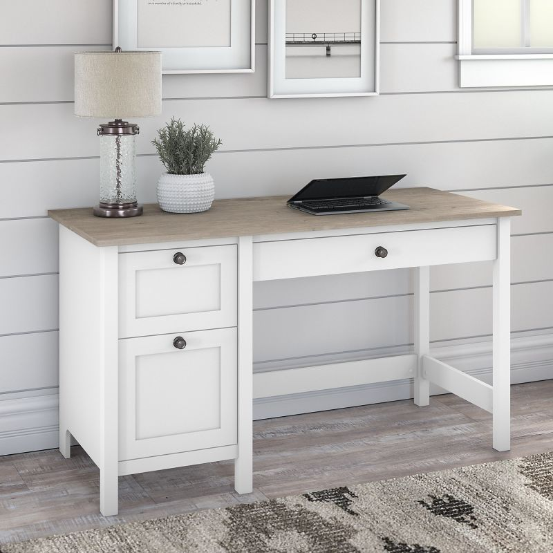Bush Furniture Mayfield 54w Computer Desk With Drawers In Pure White And Shiplap Gray In 2021 Desk With Drawers Bush Furniture Computer Desk With Shelves Desk with drawers and shelves