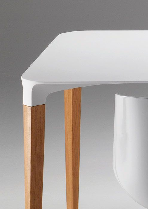 Details We Like / Table / Hard Lines / White Top / Wooden Legs / Definition