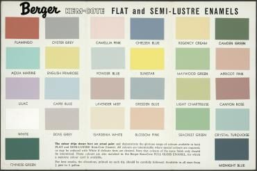92 758 Paint Colour Chart Berger Kem Cote Paint Paper