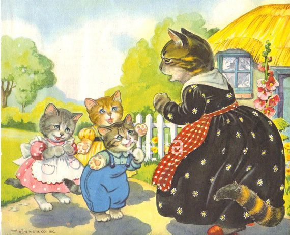 Three Little Kittens Mother Goose Nursery Rhymes Illustration By
