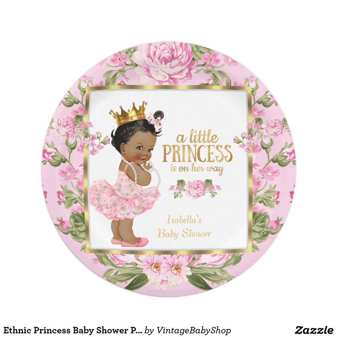 Ethnic Princess Baby Shower Pink Gold Rose Floral 7 Inch Paper Plate  sc 1 st  Pinterest & Ethnic Princess Baby Shower Pink Gold Rose Floral Paper Plate ...