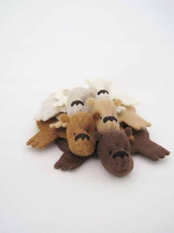 Bear Rug Coaster Set of Five by dandyrions on Etsy