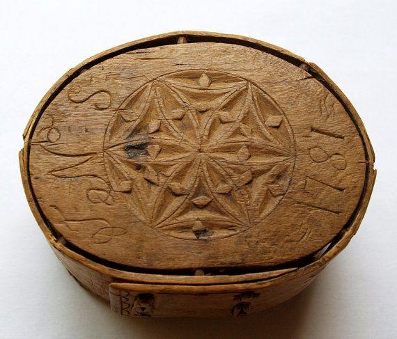 Antique Hand carved wooden Scandinavian / Norwegian Brides Box ca.1781