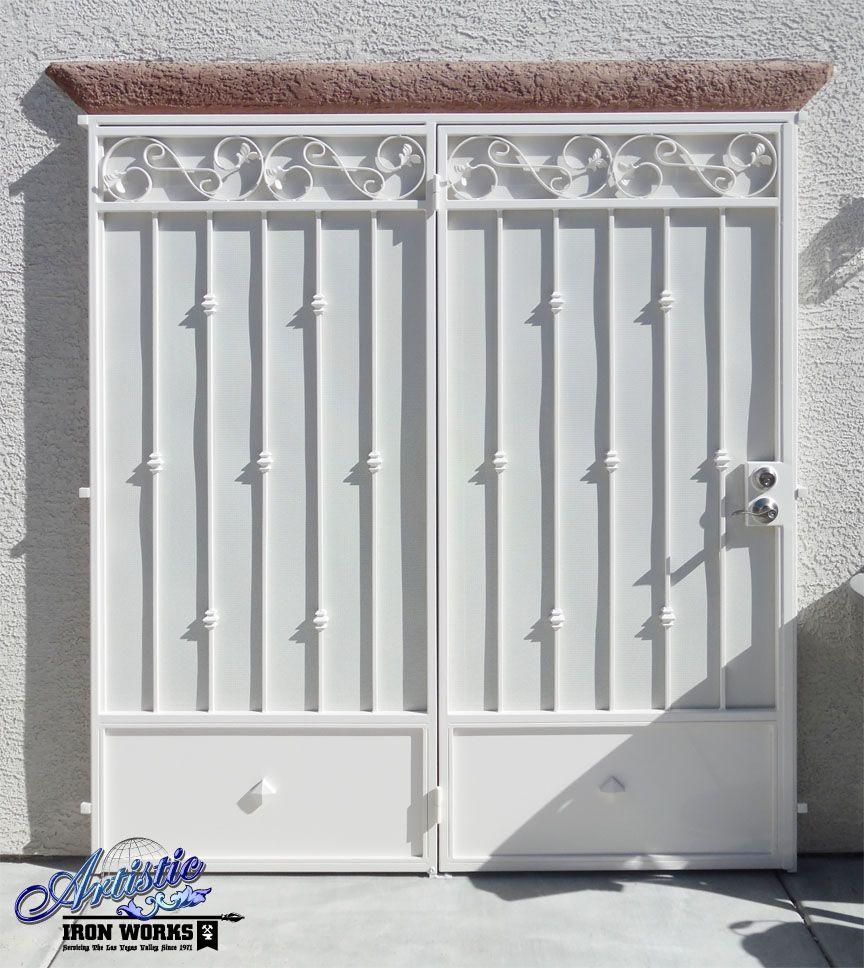 Wrought iron patio security screen door wrought iron for Wrought iron security doors