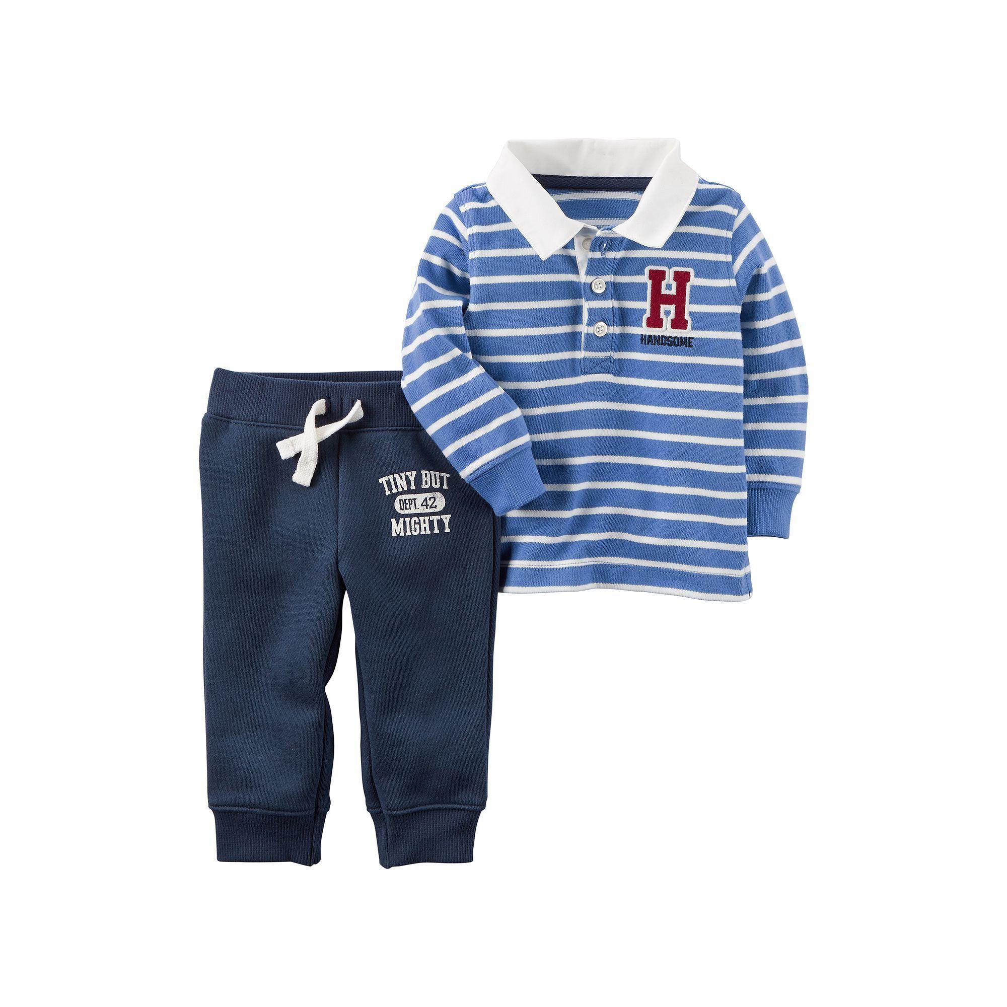 Carter s Baby Boy Striped Polo & Graphic Fleece Pants Set