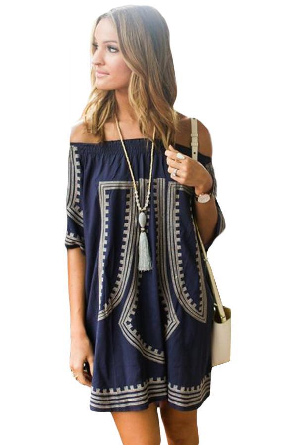 48b7324baeae Her Blue Bohemian Vibe Geometric Print Off The Shoulder Beach Dress ...
