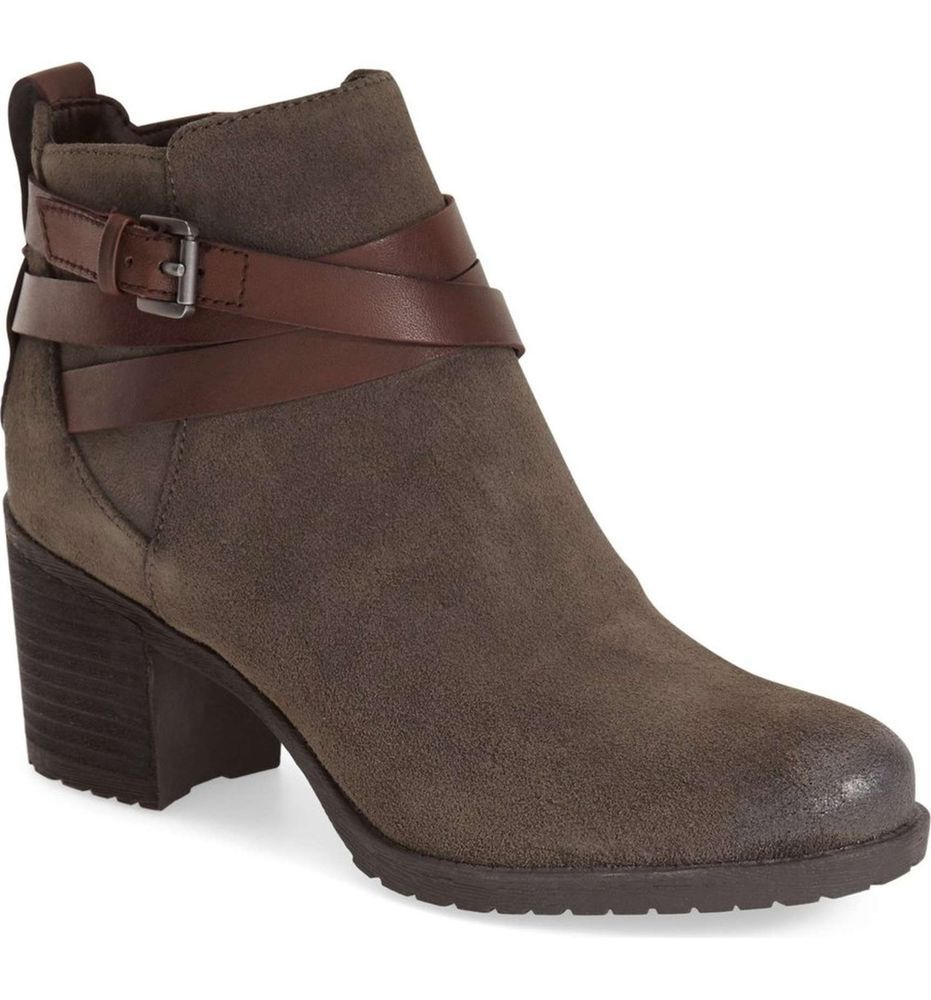 5e97fdc85 SAM EDELMAN New Hannah Zip Buckle Booties Ankle Boot Grey Leather Boots 7.5  M  SamEdelman  AnkleBoots