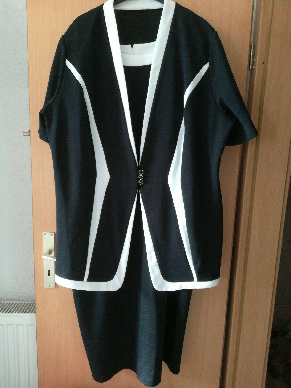 Kleid Etui Mit Jacke 16 schwarz weiß Hingucker festlich Feier