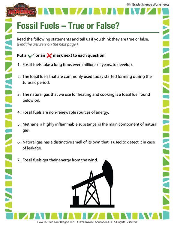 Fossil Fuels – True or False? View – Free Science Worksheet for 4th ...