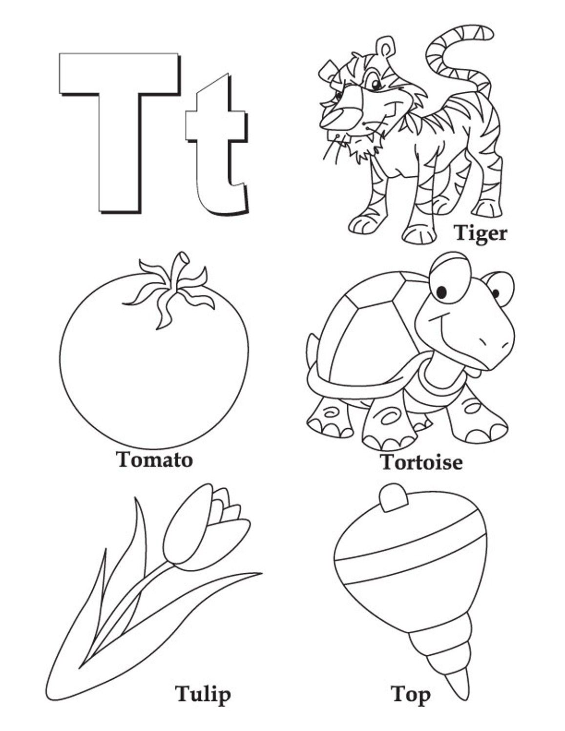 Words Of T Alphabet Coloring Page