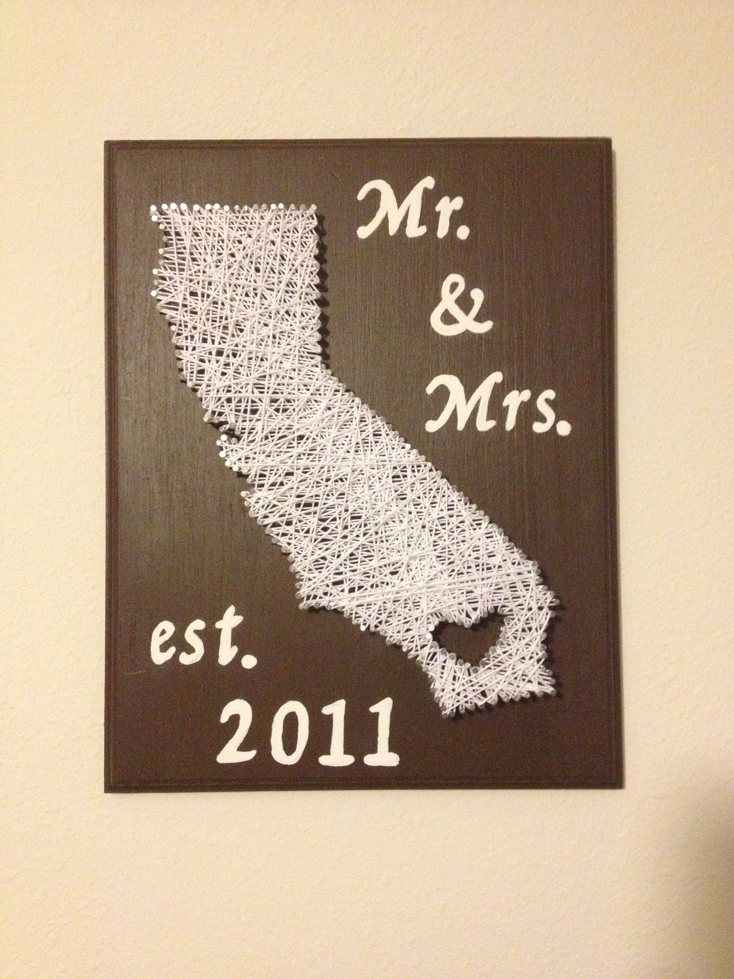 2nd Wedding Anniversary Diy Gifts : DIY 2year wedding anniversary gift. cotton string art. bought wood ...