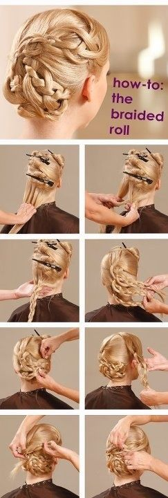 How To The Braided Roll Ladies / women hairstyles fashion. Chic. | Hair tutorial, Hair styles ...