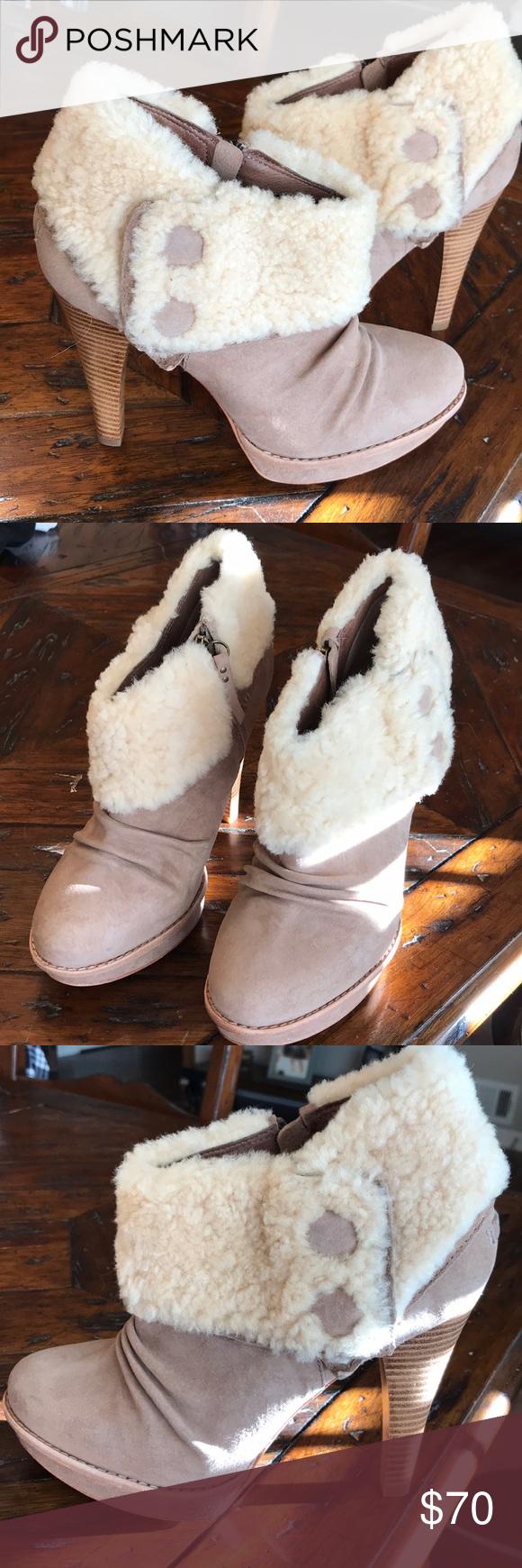 9bae1885226 UGG Georgette tan heeled sheerling bootie in 2019 | My Posh Picks ...