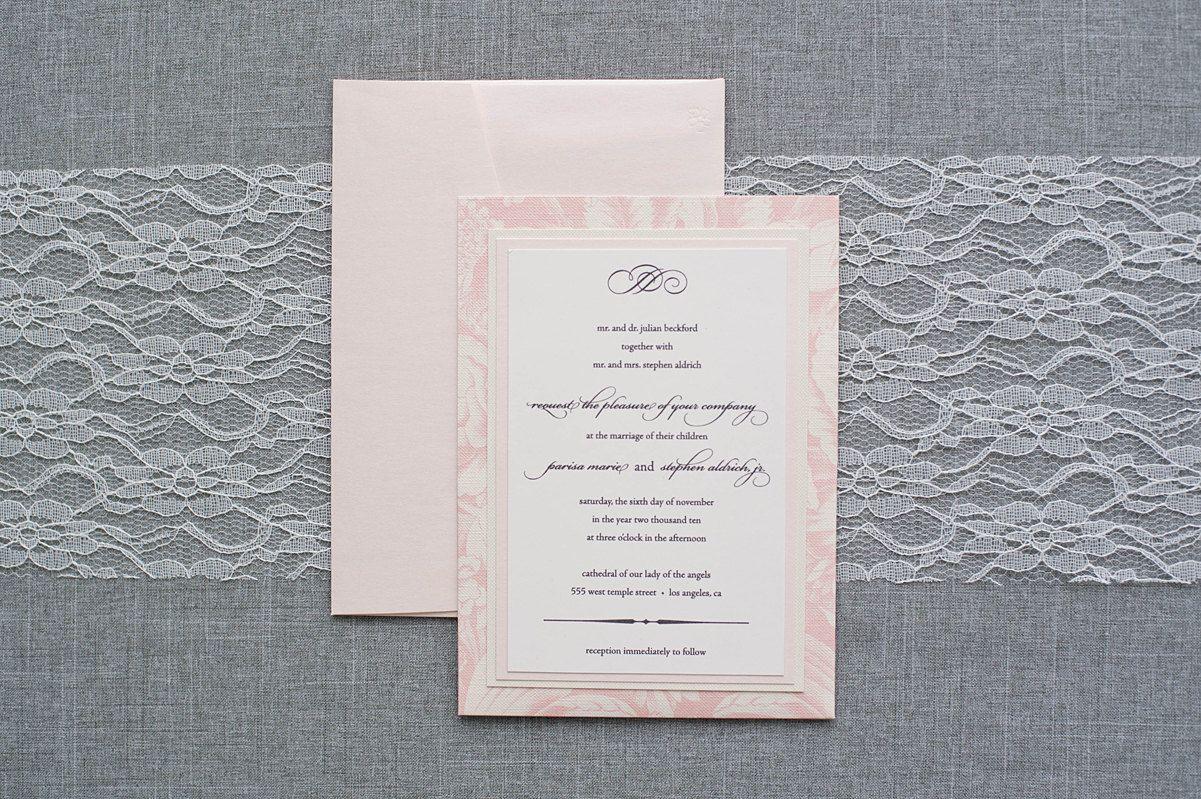 Blush Pink Pocket Wedding Invitation Romantic Floral by LamaWorks ...