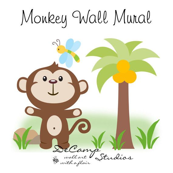 Monkey Wall Mural Decal for baby jungle nursery or children's cute safari animals room decor. This adorable mural of a monkey watching a dragonfly #decampstudios