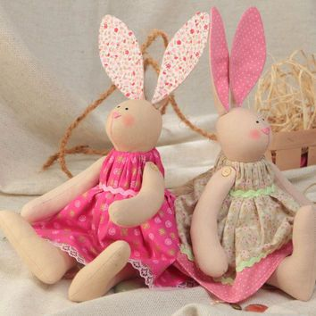Set of 2 handmade designer cotton fabric soft toys rabbit girls in pink dresses