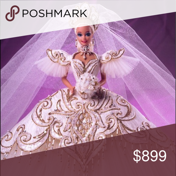 1992 BOB MACKIE Empress Bride Barbie #1992 Fifth in the Mackie series, Empress Bride® Barbie® doll is considered by many to be the ultimate bride doll in the Barbie® Collectibles line. She wears an ivory brocade gown with golden embroidery in a fleur-de-lis design, an expansive layered, pleated tulle skirt, tiara crown with marquis-cut rhinestone and veil, and beaded choker.  Like new, immaculate condition… More photos available upon request Barbie Other #bridedolls