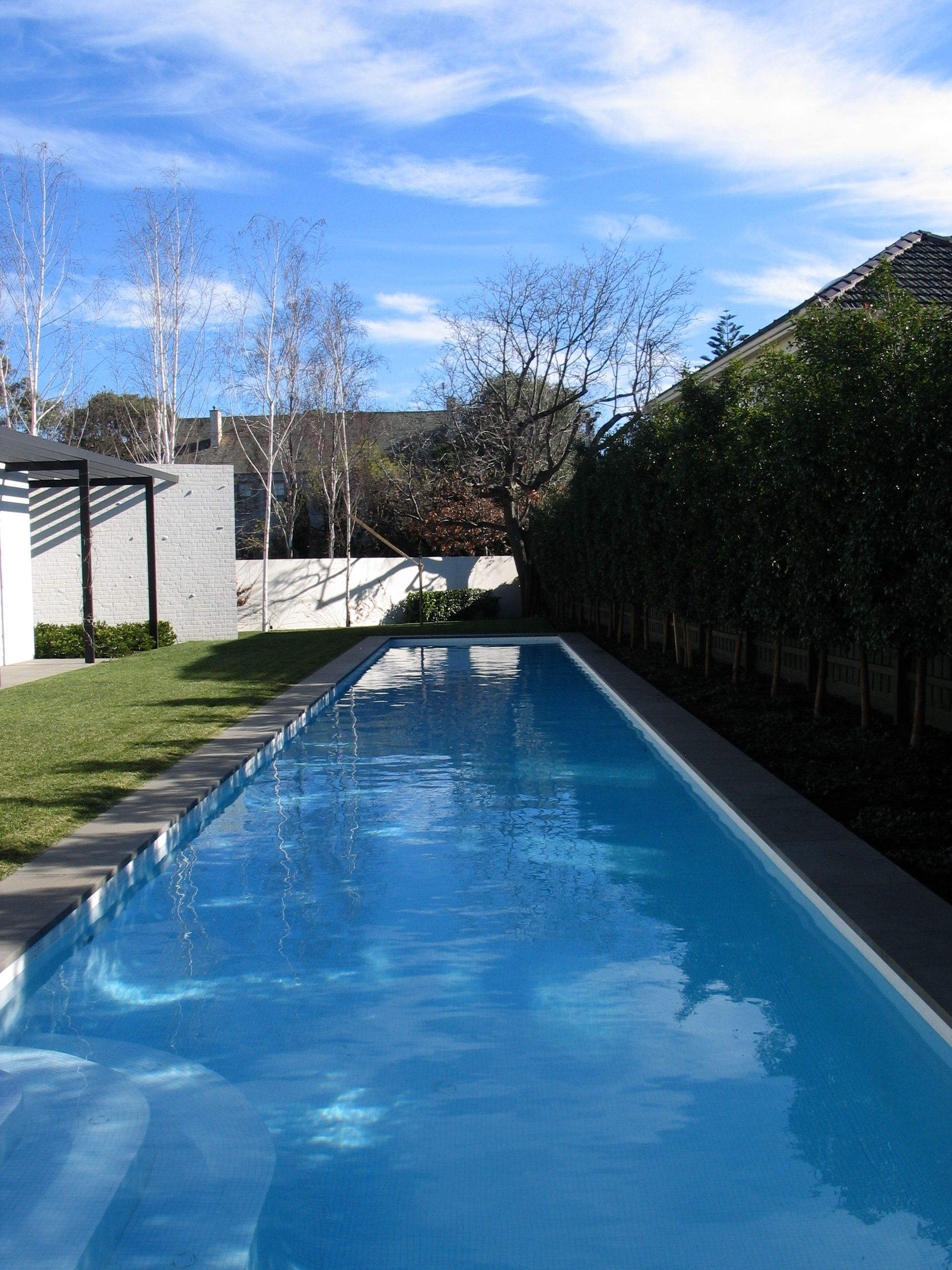 20m Lap Pool With White Bisazza Glass Mosaic Tiles And Bluestone Coping Designed By Allan Powell Architects Modern Pools Pool Houses Pool Paving