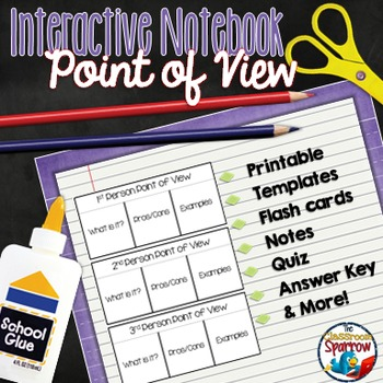 Point Of View Interactive Notebook Activities For Middle And High School Interactive Notebooks Middle School Reading Flashcards