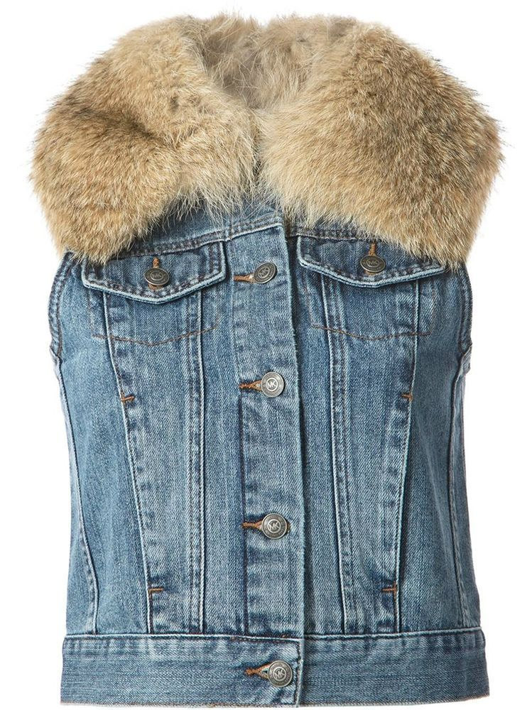 Women's Michael Kors REAL Fur Trim Denim Vest in Distressd Wash $400 SIZE SMALL #MICHAELKORS